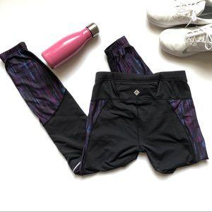 PrAna Black Leggings Purple Blue Print Small